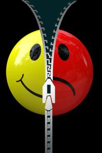 emoticono-amarillo-separado-por-creamallera-a-un-emoticono-rojo