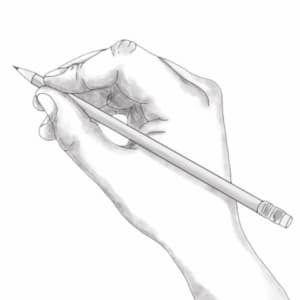 Dibujo realizado con lápiz de grafito gris en el que se observa una mano con un lápiz en posición de dibujar
