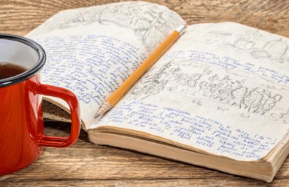 Taza-libreta-apuntes-lápiz