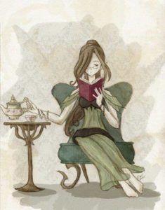 dibujo-de-una-mujer-senta-a-leyendo-mientras-toma-una-taza-de-te