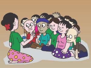 grupo-niños-maestra-explicando